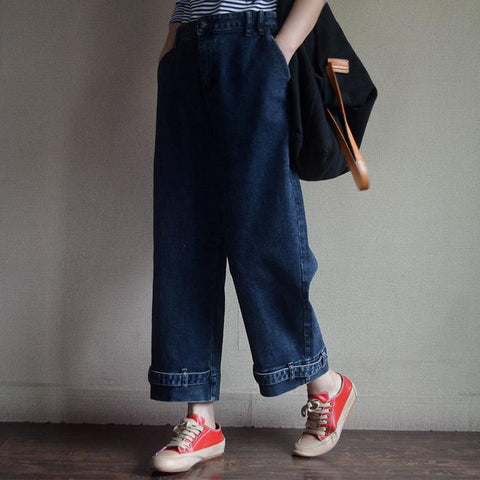 Women Wide Leg Blue Loose Winter Jeans