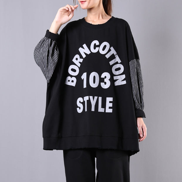 Buykud Striped Batwing Sleeve Letter Loose Blouse