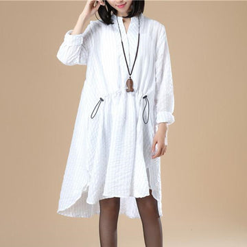 Stand Collar Elegant Women Loose Stripe Split White Dress - Buykud