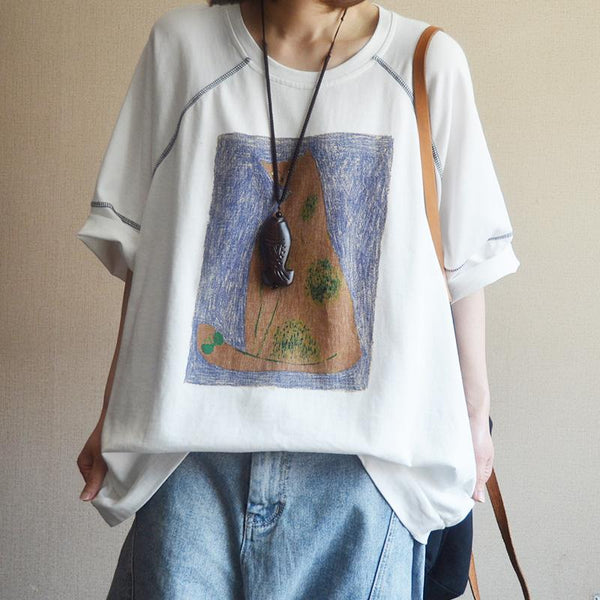 Cotton Print Cartoon Half Sleeve Blouse