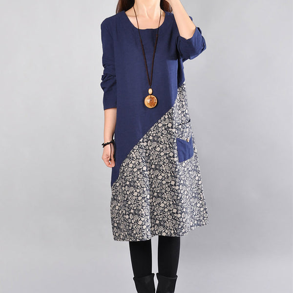 Cotton Round Neck Printing Women Blue Dress
