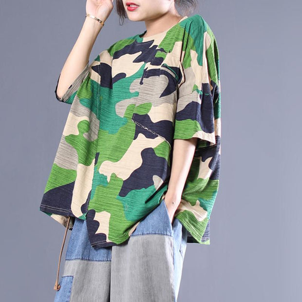 Cotton Camouflage Irregular Half Sleeve Blouse