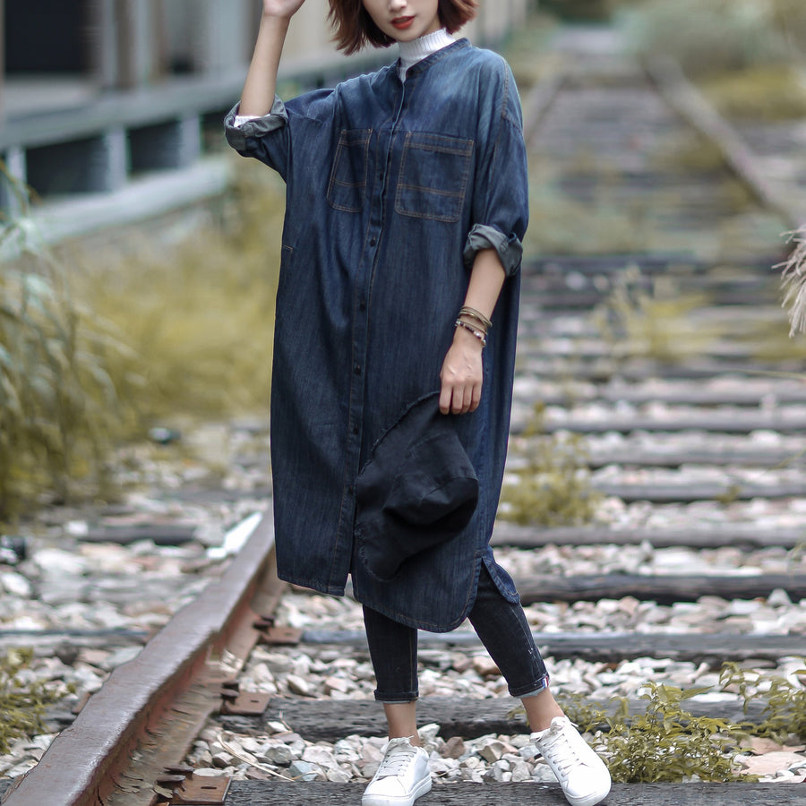 Cotton Solid Loose Casual Denim Streetwear Coat