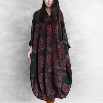 Buykud V-neck Printed Casual Ultra-loose O-Type Dress