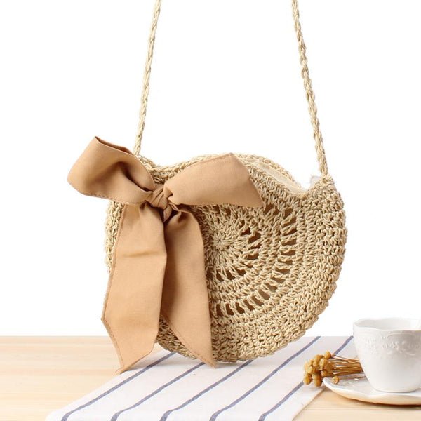 Bow Circlar Solid Hand Knitted Crossbody Bag