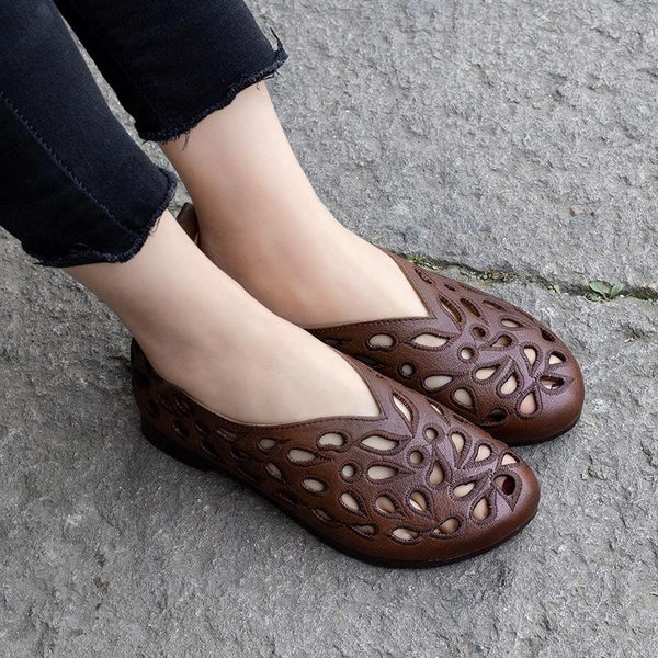 Comfortable Retro Hollow Out Leather Sandals