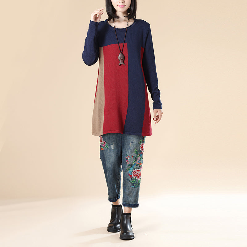 Women Stripe Casual Loose Navy Blue Long Sleeve Sweater Blouse - Buykud