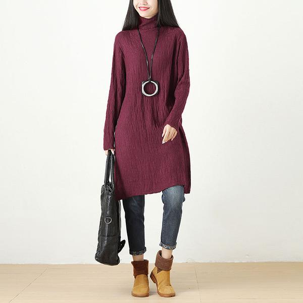 Women Autumn Winter Turtle Neck Long Sleeve Green Dress