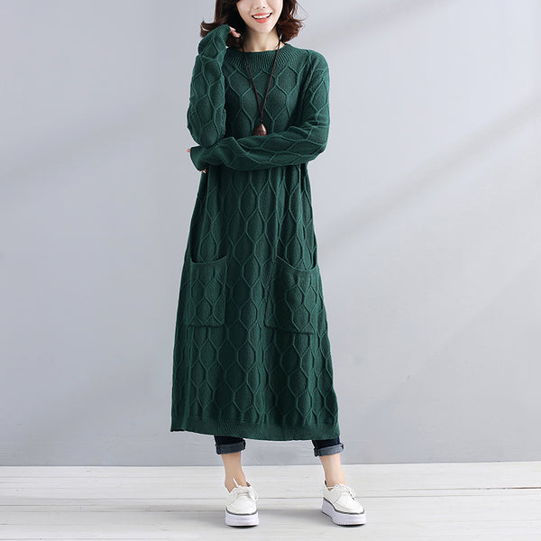 Autumn Chic Women Round Neck Long Sleeve Green Sweater Dress - Buykud
