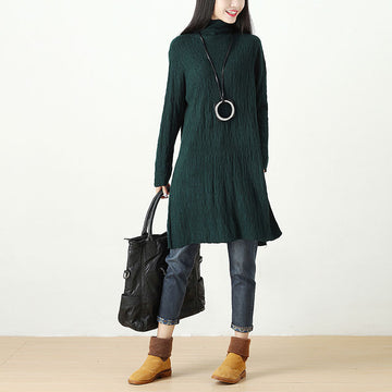 Autumn Winter Slit Fitting Green Dress For Women - Buykud