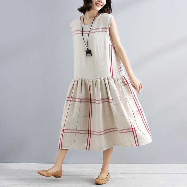 Literature Sleeveless Splicing Pleated Beige And Red Lattice Women Dress - Buykud