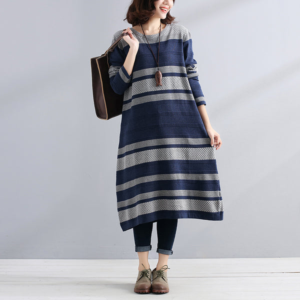 Chic Jacquard Round Neck Long Sleeve Stripe Women Blue Sweater Dress