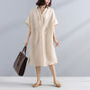 Fashionable Polo Collar Pleated Splicing Stripe Loose Women Beige Dress - Buykud