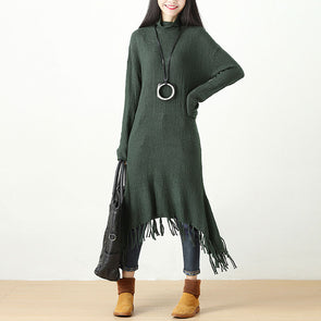 Autumn Winter Tassel Fitting Green Dress For Women - Buykud