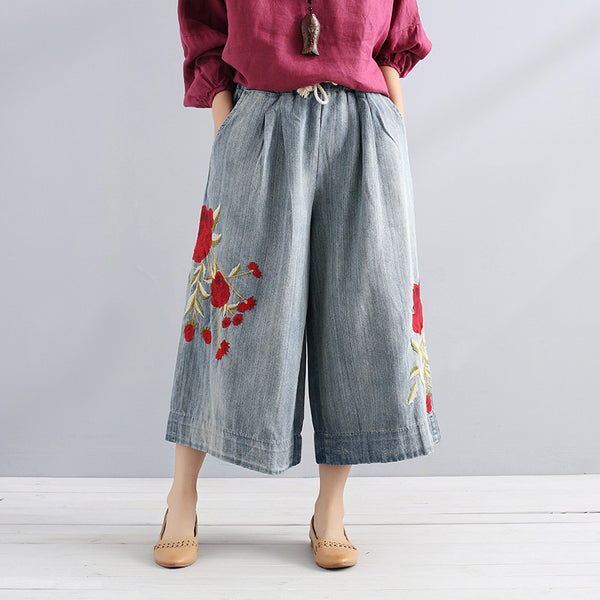 Casual Vintage Red Embroidering Women Cotton Denim Wide Leg Pants - Buykud