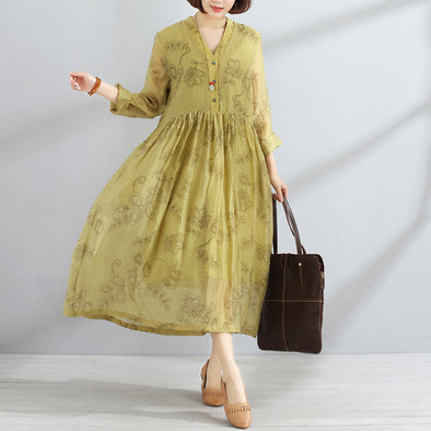 Spring Printed V Neck Long Sleeve Women Pleated Pullover Dress - Buykud