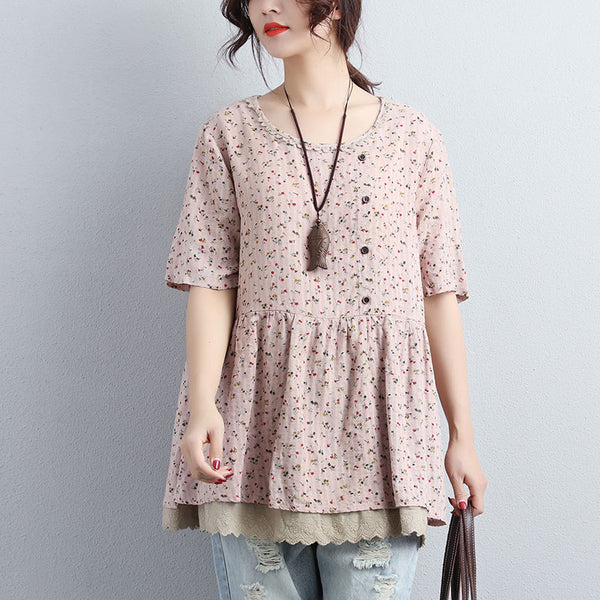 Women Short Sleeve Floral Printed Pink Tops - Buykud