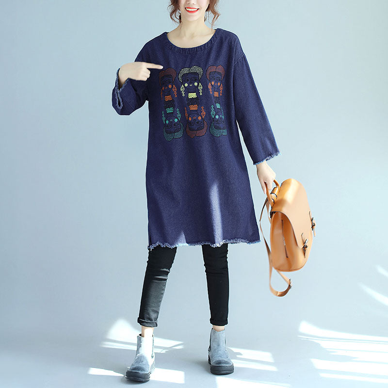 Delicate Embroidery Fashionable Women Round Neck Long Sleeve Denim Shirt - Buykud