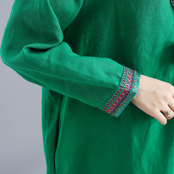 Women Green Ethnic Lone Sleeve Pockets Side Slit Embroidery Dress - Buykud
