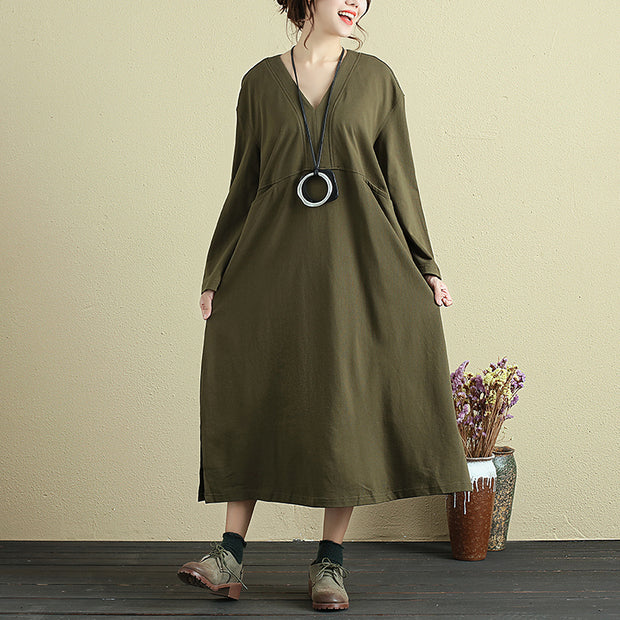 Cotton V Neck Long Sleeves Splicing Army Green Women Dress - Buykud