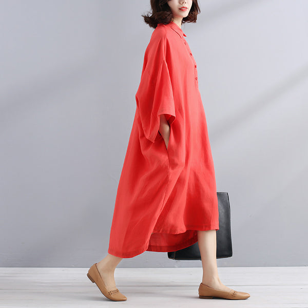 Loose Casual Simple Summer Women Orange Red Dress - Buykud