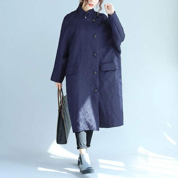 Stand Collar Oblique Breasted Women Navy Blue Windbreaker Coat - Buykud