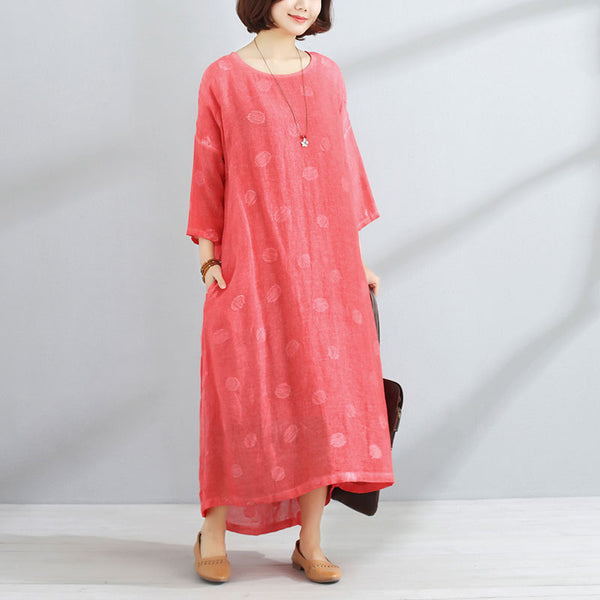 Loose Three Quarter Sleeve Women Red Lining Dress - Buykud
