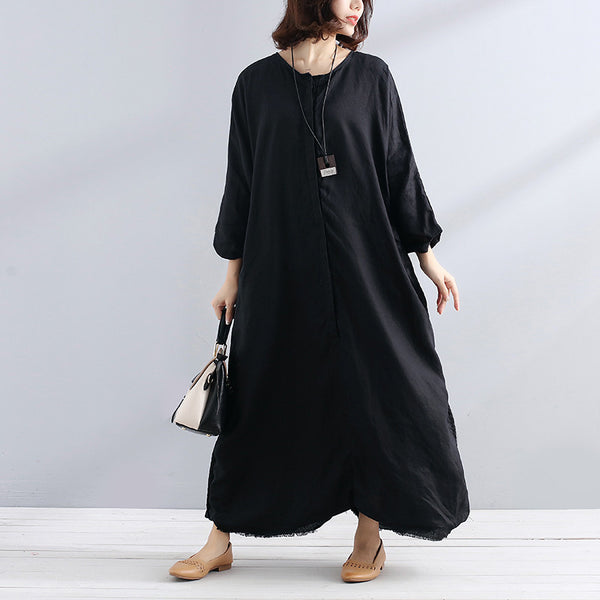 Linen Women Pocket Loose Linen Black Dress - Buykud