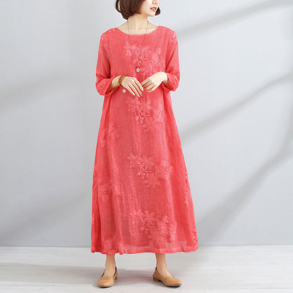 Women Round Neck Long Sleeve Red Embroidered Dress - Buykud