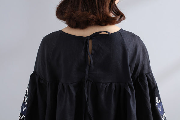 Embroidered Women Loose Linen Casual Lacing Pleated Black Shirt - Buykud