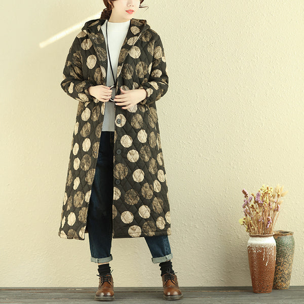 Hooded Single Breasted Dots Long Sleeve Women Cotton Linen Coat