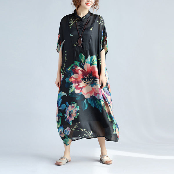 Short Sleeves Printing Loose Women Silk Black Dress - Buykud