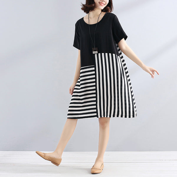 Women Casual Loose Cotton Stripe Splicing Short Sleeves Black Dress - Buykud