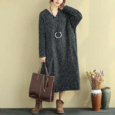 Women V-Neck Long Shoulder Sleeve Black Stripe Dress - Buykud