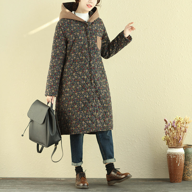 Winter Hooded Floral Coat Women Retro Overcoat - Buykud