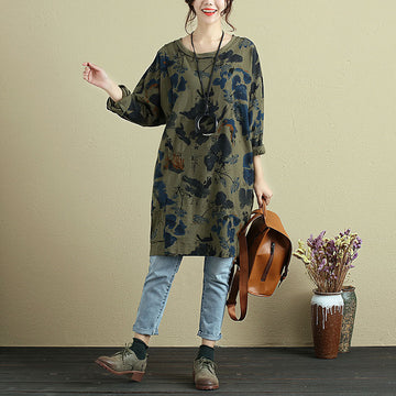 Stylish Printing Long Sleeve Scratch Women Cotton Shirt Dress - Buykud