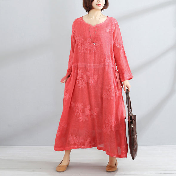 Casual V Neck Long Sleeve Red Lacing Women Dress - Buykud