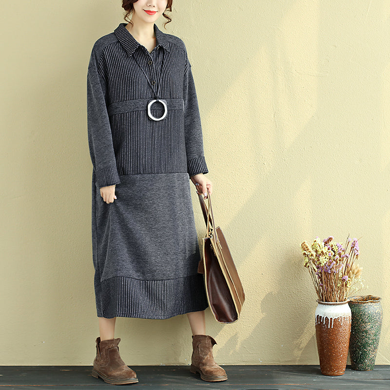 Polo Collar Buttons Long Sleeve Splicing Pockets Stripe Dress - Buykud