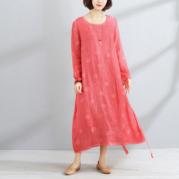 Casual Round Neck Long Sleeve Women Red Lacing Dress - Buykud