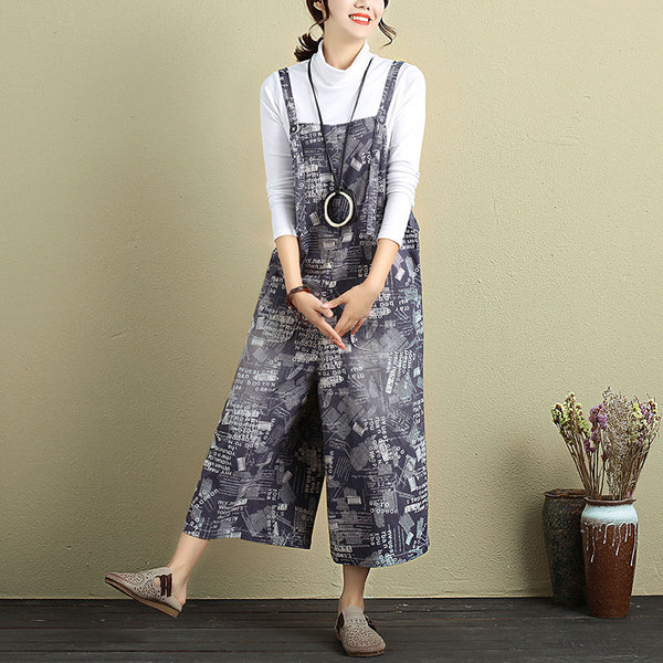 Women Calf-Length Pockets Printing Buttons Jumpsuits - Buykud