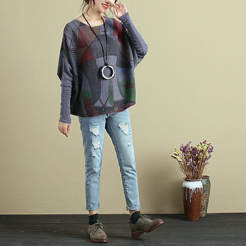 Vintage Women Colorful Printing Round Neck Long Sleeve Shirt - Buykud