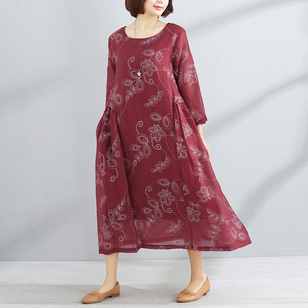 Printed Women Round Neck Three Quarter Sleeve Red Dress - Buykud