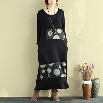 Autumn Splicing Casual Black Dress For Women - Buykud