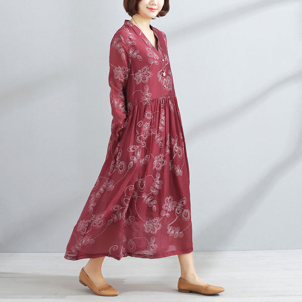 Spring Printed V Neck Long Sleeve Women Red Pullover Dress - Buykud