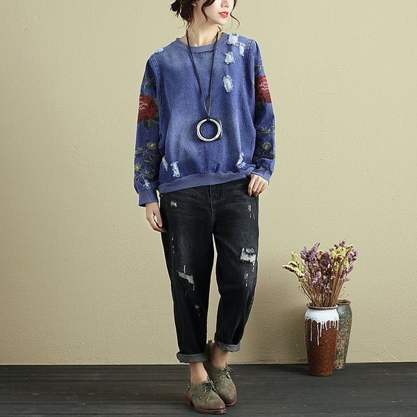Fashionable Women Delicate Embroidery Blue Ripped Denim Shirt - Buykud