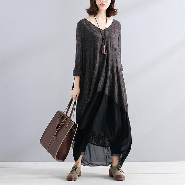 Loose Women V Neck Long Sleeve Splicing Irregular Dress - Buykud