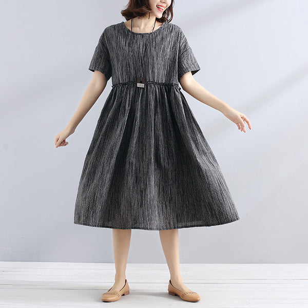 Women Short Sleeve Pleated Stripe Casual Literature Dress - Buykud