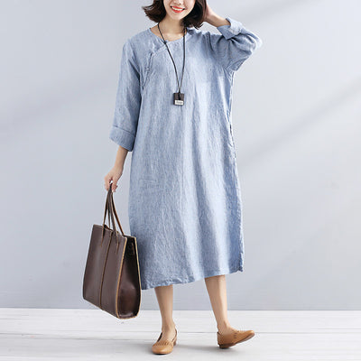 Fashionable Stripe Chic Frogs Long Sleeves Loose Women Blue And White Dress - Buykud