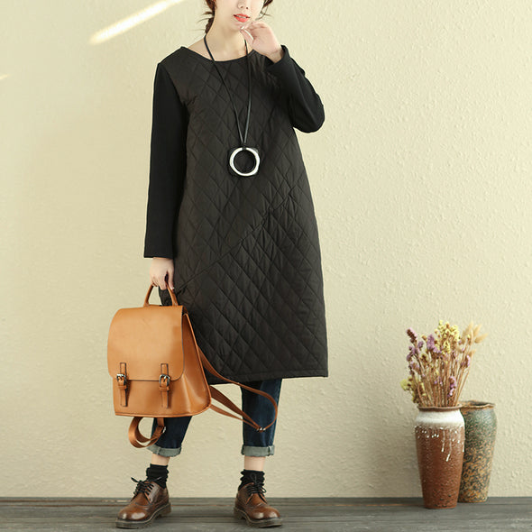 Round Neck Long Sleeve Women Autumn Cotton Polyester Dress - Buykud
