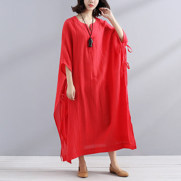 Summer V Neck Slit Loose Casual Red Dress - Buykud